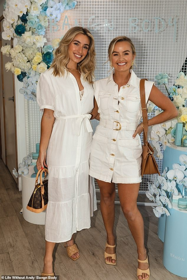 Heavenly:Also wearing white was Tayla's former co-star Cassidy McGill, who looked stunning in a short-sleeved sheer button-up dress, accessorised with a Louis Vuitton handbag and quilted beige mules. Meanwhile, former Bachelorette star Elly Miles showed off her deep tan and toned legs in a short denim mini dress