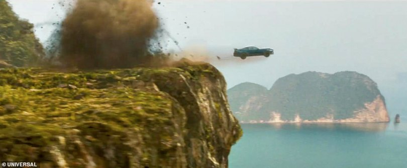 Away we go: Impressive automobiles fly through the air as Dom takes to the streets in a fight against evil with his crew