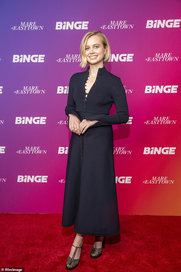 Beauty in black!Angourie Rice also made a statement as she posed on the red carpet