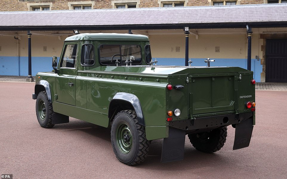 "Philip had requested a repaint in military green and designing the open top rear and special ""stops"" to secure his coffin"