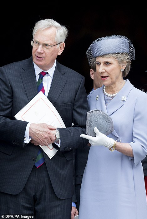 There was not room for the spouses of the Queen's cousins - the Duchess of Gloucester (pictured with her husband)
