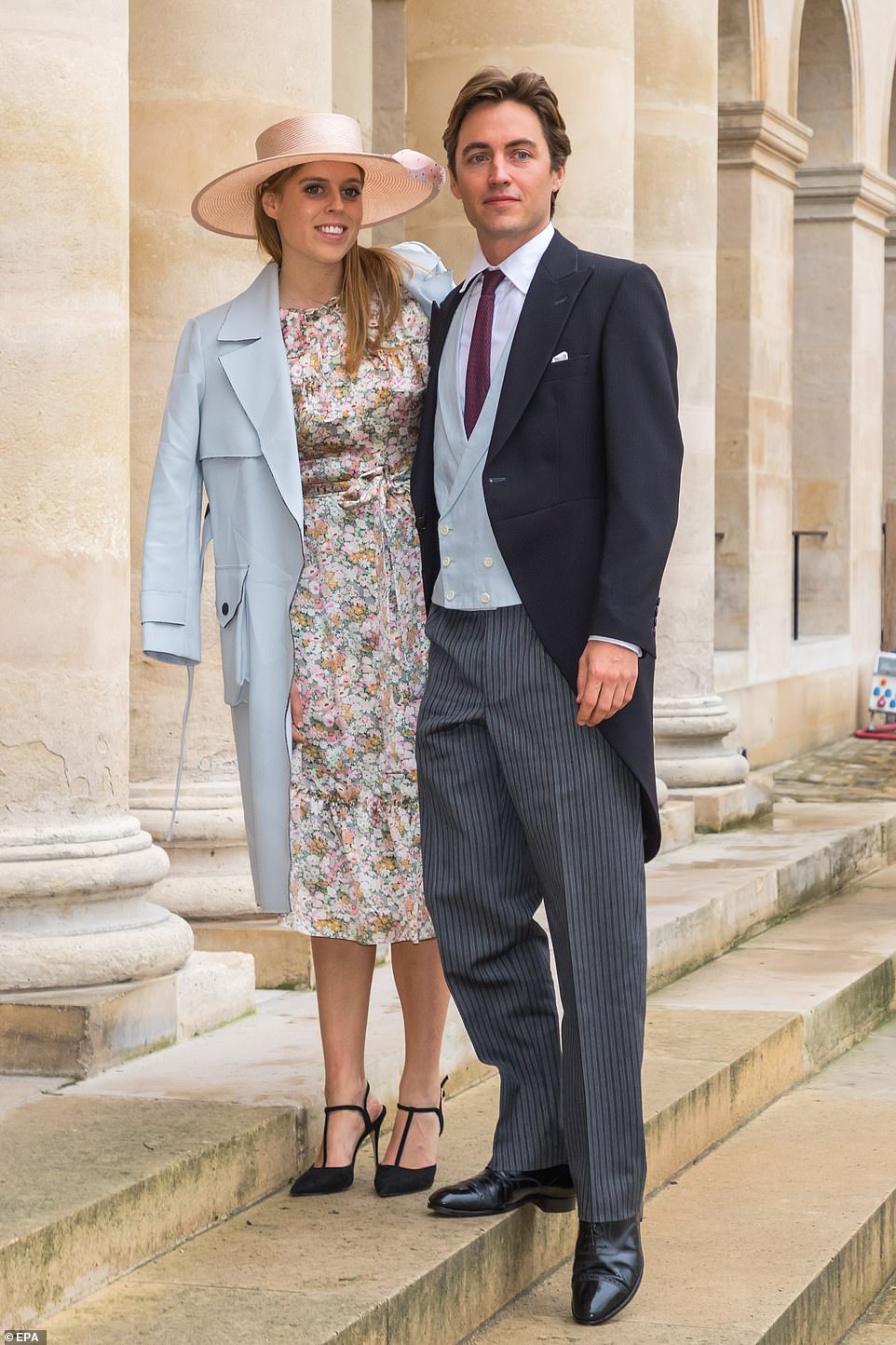 Princess Beatrice of York (L) and her husband Edoardo Mapelli Mozzi, will be attending the funeral at Windsor on Saturday
