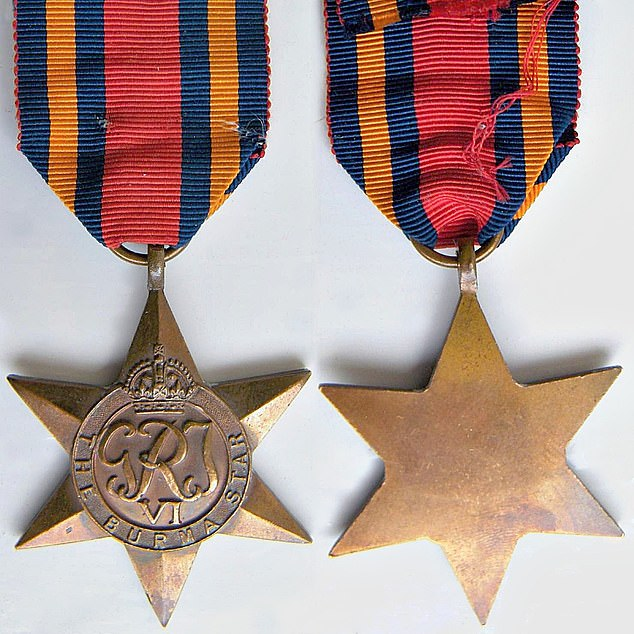 Burma Star (with Pacific Rosette): In May 1945, he was awarded the Burma Star for service in the Burma Campaign in the Second World War
