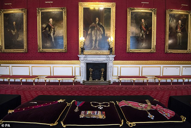 Cushions with the Duke of Edinburgh's insignia sewn into place in St James's Palace, London