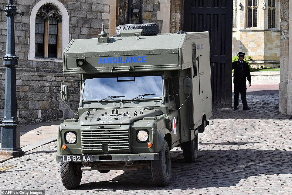 A British Army Land Rover ambulance is driven away from Windsor Castle today as funeral preparations continue