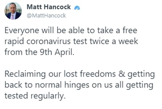 Matt Hancock faced a backlash today after he claimed a multi-billion pound plan to test everyone for coronavirus twice a week is the only way 'back to normality'