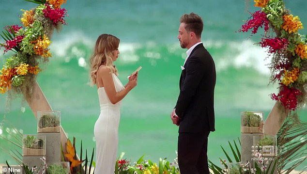 And... they're gone! Wilkinson, 61, posted a series of tweets about the top-rating Nine show on Monday and then deleted them without explanation, according to TV Tonight . Pictured: MAFS couple Alana Lister and Jason Engler during their final vows, which aired on Monday night