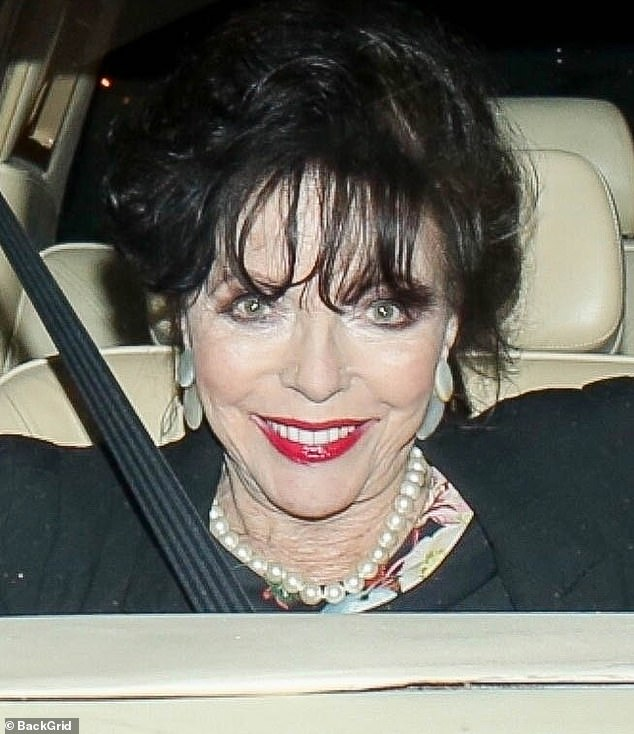 Looking fab: Joan Collins looked agelessly radiant while stepping out to dinner in Los Angeles this Thursday evening