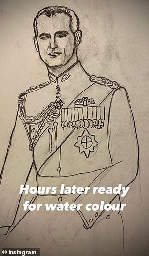 Sketch: In the following shot, the former member of the boy group had drawn the full outline of the Duke, who was now recognizable as the monarch's husband, writing: 'Hours later, ready for the color of the water ''