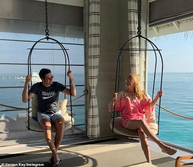 Tropical: The third photo in Vernon's post showed him and Tess sitting on swings while holidaying in the Maldives