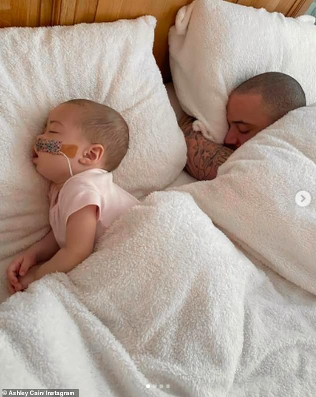 Together: Safiyya'sposts come after Ashley shared sweet snaps cuddling with Azaylia in bed and said he feels 'truly blessed to have another day with you' amid her leukemia battle