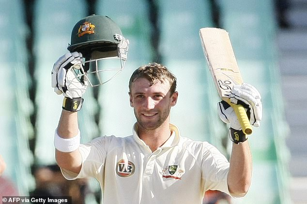In November 2014, Australian drummer Phillip Hughes was killed when he was shot in the neck.  Here he celebrates scoring a century for his country in a 2009 test match in South Africa.