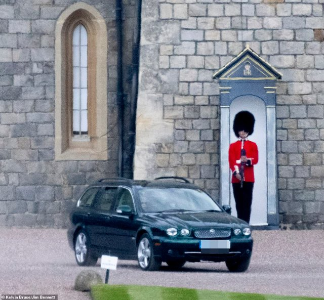 Yesterday Her Majesty, 94, drove her green Jaguar through the grounds of Windsor Castle, where the Duke of Edinburgh will be laid to rest