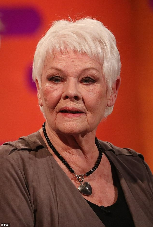 Her star:Appearing on Saturday night's The Jonathan Ross show, the actress, 38, who is blazing the promo trail for her new movie A Quiet Place II, was detailing her many superstar encounters - including her early theatrical beginnings with Dame Judi (pictured)