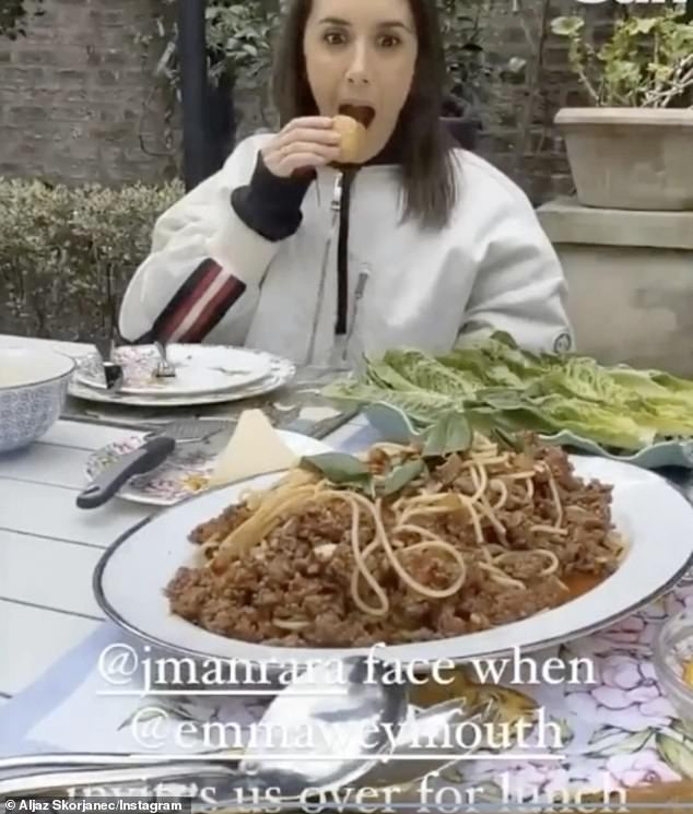 Funny:Taken aback by Emma's efforts, Janette looked wide-eyed at the food before her, with Aljaz joking: '@JManrara's face when @EmmaWeymouth invites us over for lunch'