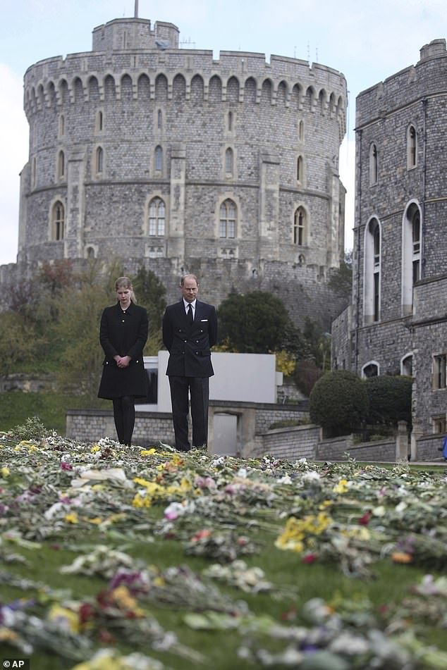Wearing a black knee-length skirt, single-breasted collared jacket and tights, the teenager tied her hair back and stood next to her father as she read tributes to The Duke of Edinburgh.