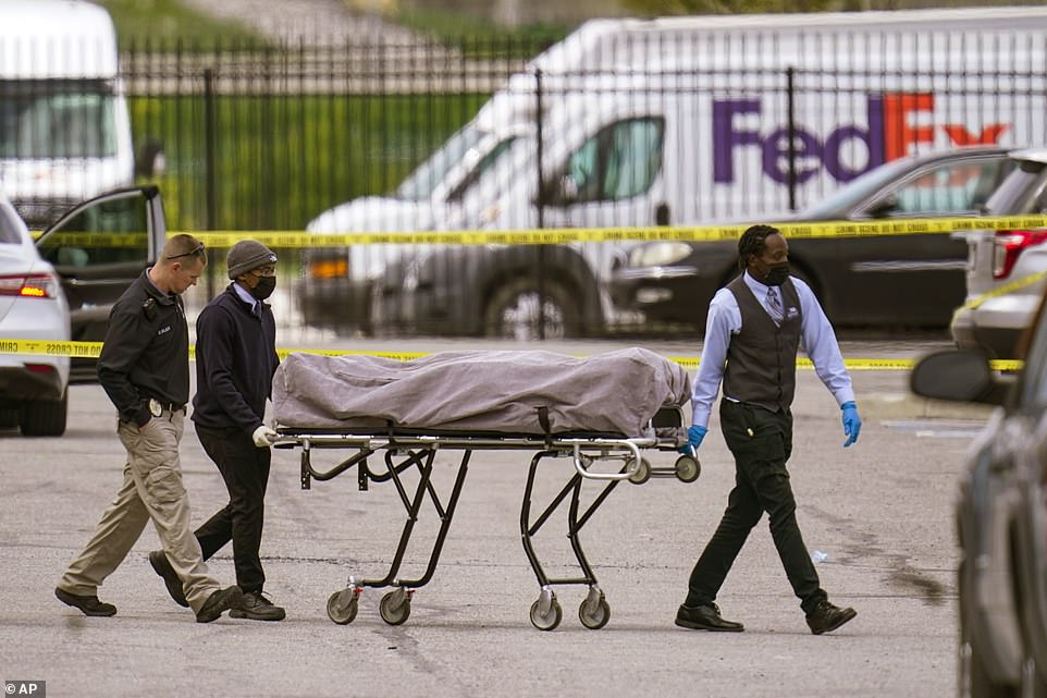 The bodies of some of the victims were taken away from the scene after on Friday at about 1pm