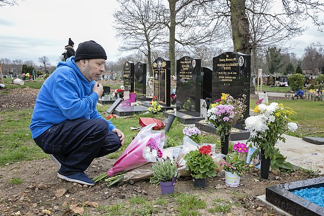Mr Sidhom's father Samer (pictured at his son's grave) also made an emotional appeal for information on Friday night
