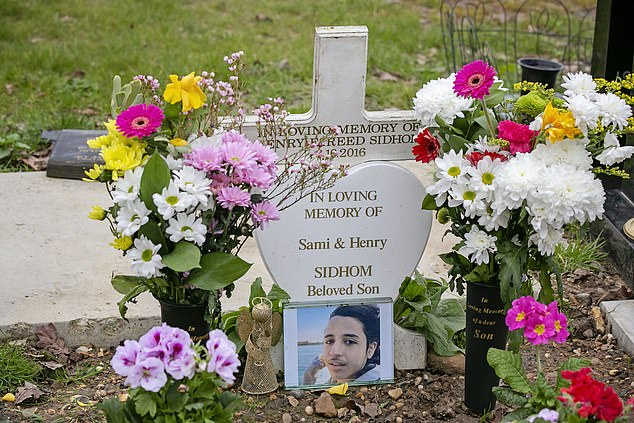 Mr Sidhom was stabbed to death on April 16, 2018, in Forest Gate, east London, as he made his way home from watching West Ham versus Stoke at the London Stadium. Pictured: His grave