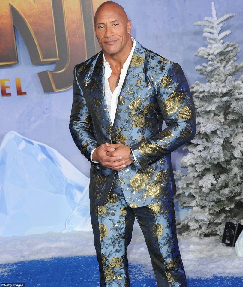 Looking fab: Dwayne is pictured at the 2019 premiere of Jumanji: The Next Level in Hollywood
