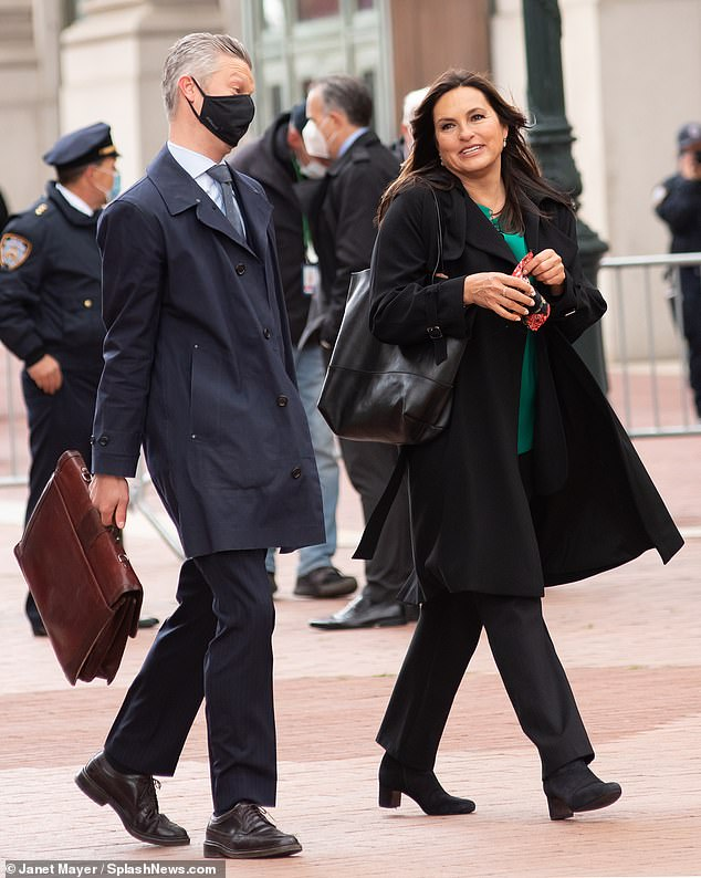Do their thing: Mariska Hargitay and Peter Scanavino were spotted on the set of New York City of Law And Order: Special Victims Unit on Friday