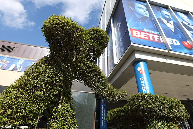 A snooker-themed hedge outside the Sheffield venue as the World Championship begins