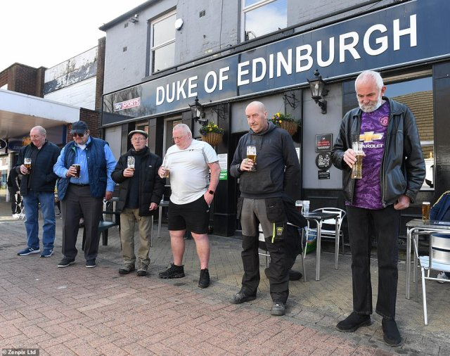 Locals at the Duke of Edinburgh pub in Royton remember the Duke as they solemnly pay tribute to Prince Philip this afternoon