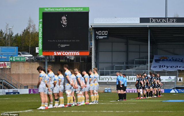 The teams observe a minutes silence in memory of the late Prince Philip, Duke of Edinburgh during the Gallagher Premiership Rugby match between Exeter Chiefs and Wasps