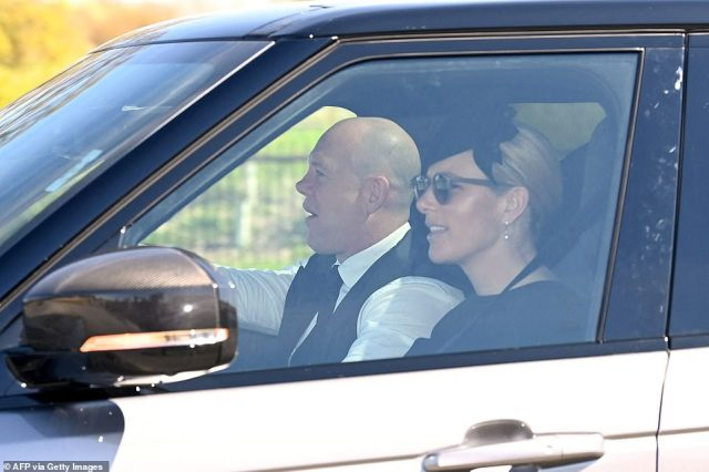 The Duke of Edinburgh's granddaughter Zara Tindall was joined by her husband Mike as she arrived at Windsor Castle ahead of the funeral today