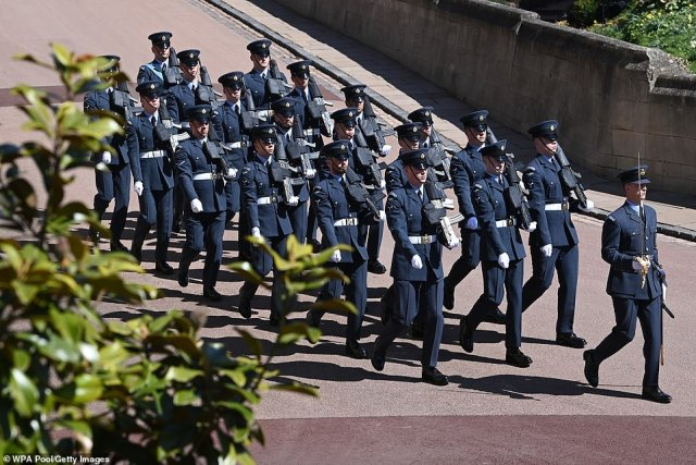 Airmen of the Royal Air Force marching ahead of the funeral of Prince Philip. More than 700 members of the Armed Forces are involved in the event