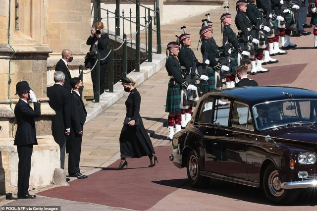 Sophie, Countess of Wessex arrives for the funeral service of Britain's Prince Philip this afternoon. She will be joined by several family members