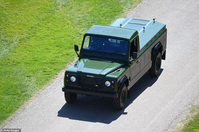 The purpose built Land Rover Prince Philip, Duke of Edinburgh's coffin, arrived atWindsor Castle