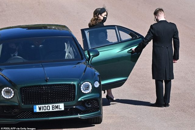 Princess Eugenie of York arrives for the ceremonial funeral procession of Britain's Prince