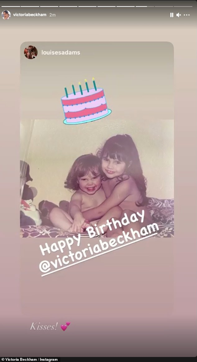 Kisses! The fashionista also where she shared a slew of sweet birthday messages on her stories, including her sister Louise who shared a snap from their childhood