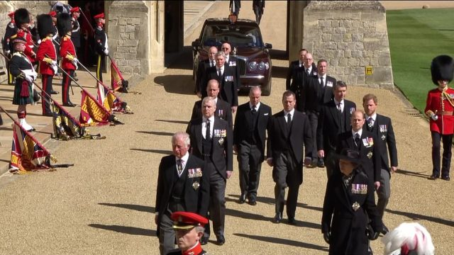 Andrew was due to walk in the second row of the procession adjacent to his brother Prince Edward, and behind Price Charles and Princess Anne in the first row