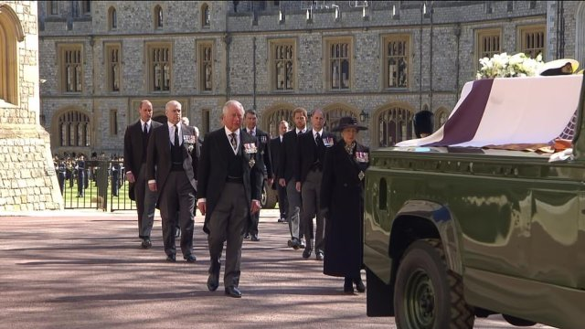 The Royal Family's procession was led by Prince Charles and Princess Anne who looked emotional following the casket