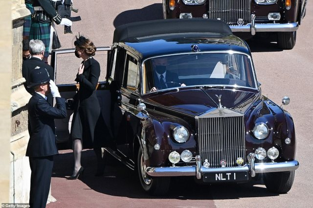 Kate Middleton,Duchess of Cambridge arrives for the funeral of Prince Philip, Duke of Edinburgh at Windsor Castle