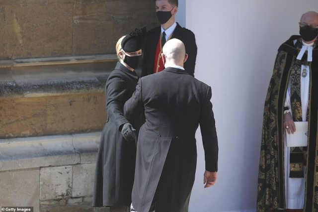 Zara Tindall and Mike Tindall arrive at the Galilee Porch of St George's Chapel for the funeral of Prince Philip,