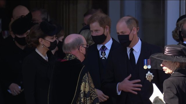 Brothers Harry and William appeared to share words while Harry also looked locked in conversation with Kate Middleton after leaving the service