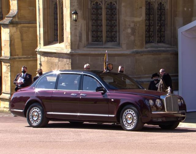 The Queen leaves St George's Chapel after the emotional funeral of her husband Prince Philip