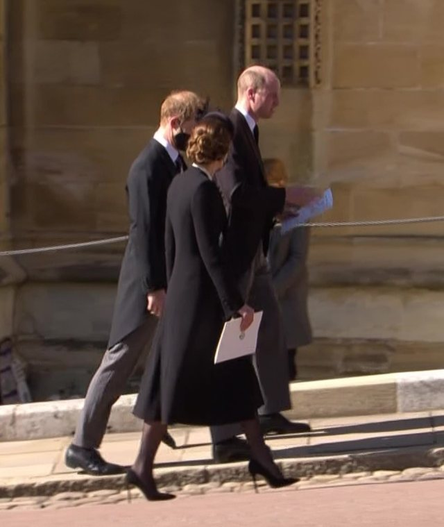 Harry and William walked back to the castle in the spring sunshine with Kate, speaking for the first time in a year
