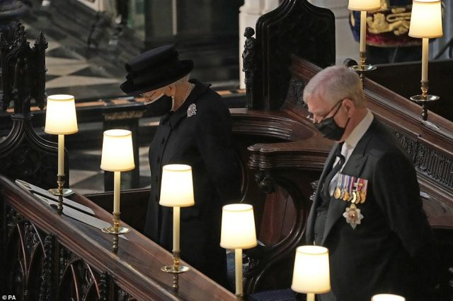 Queen Elizabeth II and the Duke of York during the funeral of the Duke of Edinburgh in St George's Chapel this afternoon