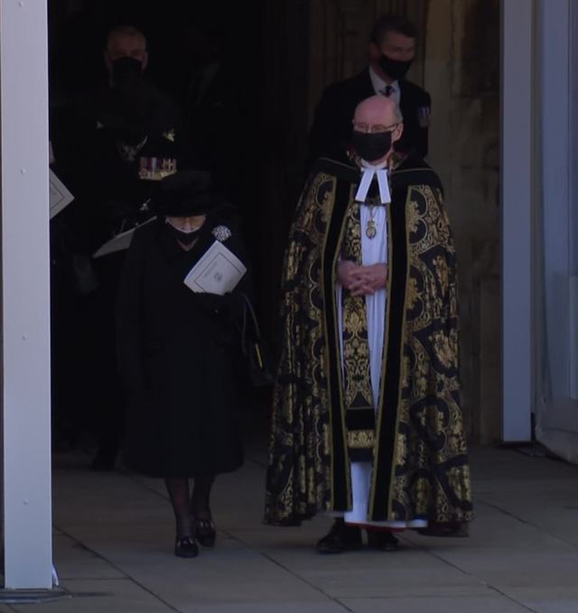 The Queen walked from the church with Dean David Connor after the emotional state occasion