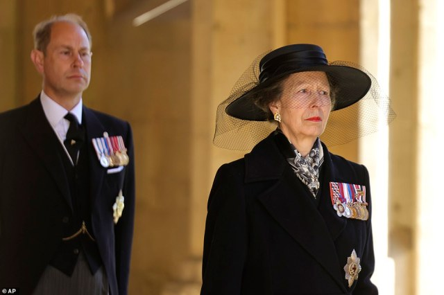 Princess Anne, right, and Prince Edward walk together during the funeral of Britain's Prince Philip inside Windsor Castle