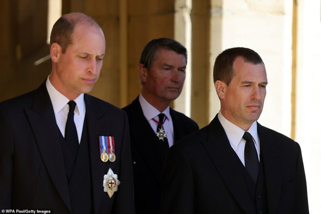Prince William, Duke of Cambridge, Vice-Admiral Sir Timothy Laurence and Peter Phillips during the funeral of Prince Philip