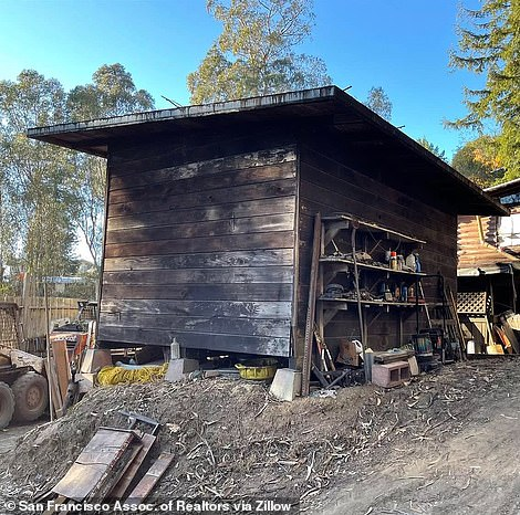 The listing describes the cabin as being 'in considerable disrepair'