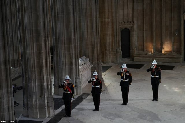 The Buglers of the Royal Marines play the Last Post after Philip's coffin was lowered into the Royal Vault