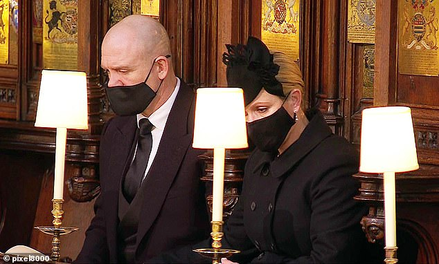 Looking teary-eyed, it is the first time Zara Tindall (pictured alongside Mike Tindall), 39, Princess Anne 's daughter, has been seen since giving birth to her son Lucas Philip Tindall three weeks ago