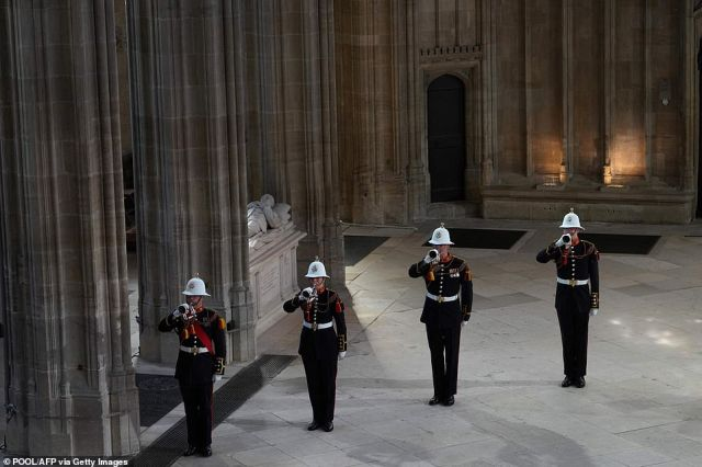 After Philip's coffin was lowered into the 200-year-old vault in the chapel, buglers from the Royal Marines sounded both the Last Post and Action Stations - the signal played to crew on board a Royal Navy ship telling them to be ready for battle