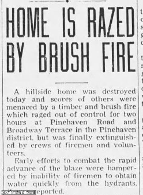 Clips from local papers show that two fires occurred on the property in a four year period, with the first happening in 1933